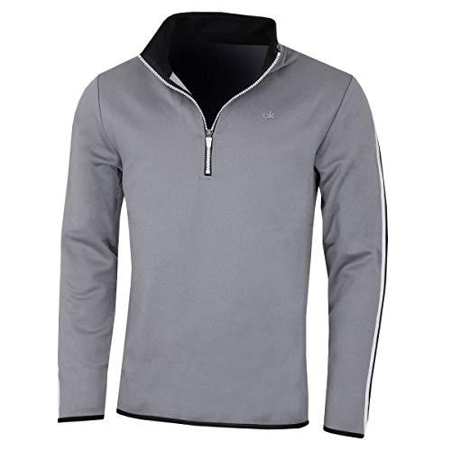 Calvin Klein Golf Herren 1/2 Zip Leistung Sweater - Silbermarl - L