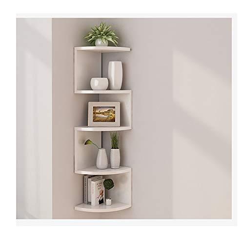 Asskanaer Eckregale zur Wandmontage, klassisches, radiales Eck-Wandregal mit 5 Ebenen for die Aufbewahrung von Bücherregalen (Color : White)