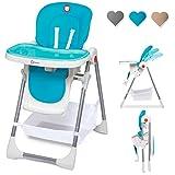 Lionelo Linn Plus chaise haute bébé chaise haute enfant à partir de 6 mois chaise haute jusqu'à 15 kg chaise haute chargeable bébé avec fonction couchage nombreux accessoires (Turquoise)