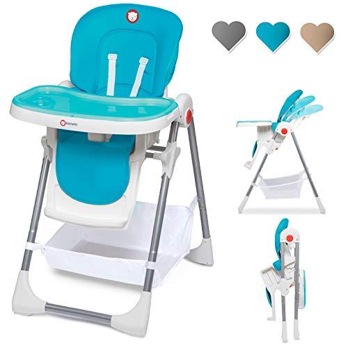Lionelo Linn Plus hoge stoel baby kinderen hoge stoel vanaf 6 maanden kinderstoel tot 15 kg belastbaar hoge stoel baby met ligfunctie talrijke accessoires (turquoise)