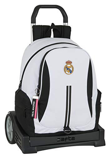 safta 612054860 Mochila con carro ruedas Evolution, Trolley Real Madrid CF