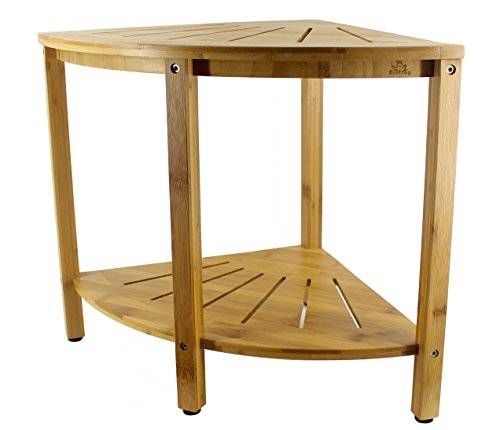 EcoFrog 2-Tier Bamboo Corner Shower Bench with Shelves, Indoor Outdoor Freestanding Shelf Storage