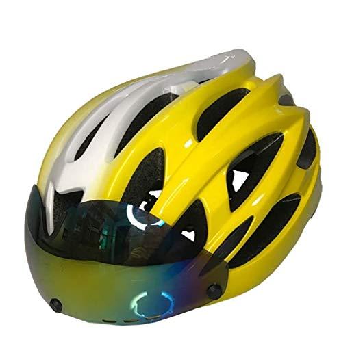 QMZDXH Smart Bike Helmet, Smart Bicycle Helmet Bluetooth, Casco de Bicicleta con Luz de Seguridad y Visera de Protección, Recargable (estándar CE de La UE)
