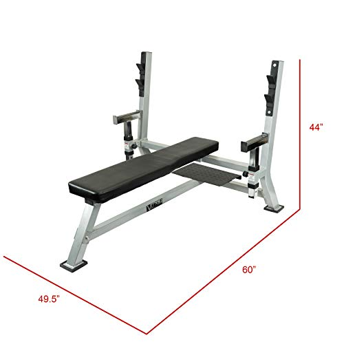 Valor Fitness BF-48 Olympic Weight Bench Press Station with Adjustable Safety Catches and Spotter Stand