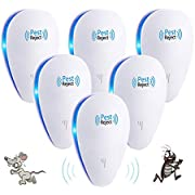 Ultrasonic Pest Repeller 6 Packs Electronic Pest Control Repellent Reject Plug in for Insect by, Mouse, Rats, Spiders, Fleas, Roaches, Bed Bugs, Mosquitoes, Eco-Friendly, Human & Pet Safe