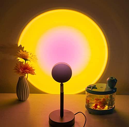Lámpara de Proyección Sunset, Led arcoíris Proyector de puesta de sol, USB Luces del atardecer iluminación Luz de noche Vuelta romántico Atmósfera Cuarto sala juntense (sol)