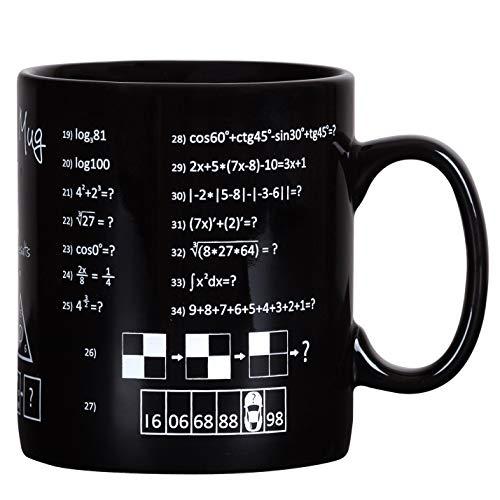 Froster Riesen Becher für Genie, Riesen Tasse XXL mit Matheformeln und logische Rätsel 900 ml, Schwarz
