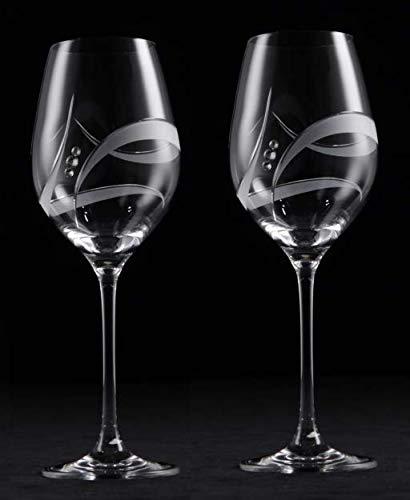 Juego de 2 copas de cristal galaxy de vino blanco cortadas a mano decoradas con elementos de Swarovski