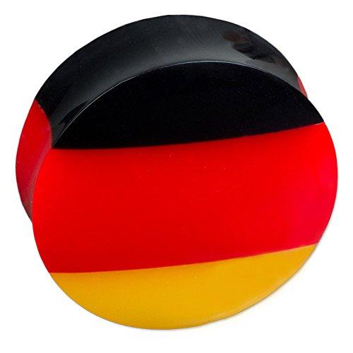 viva-adorno® 1 Stück Saddle Plug Ohr Piercing Deutschland Flagge Fußball Fan Weltmeisterschaft Größe 6-30mm Z415, Plug 6mm