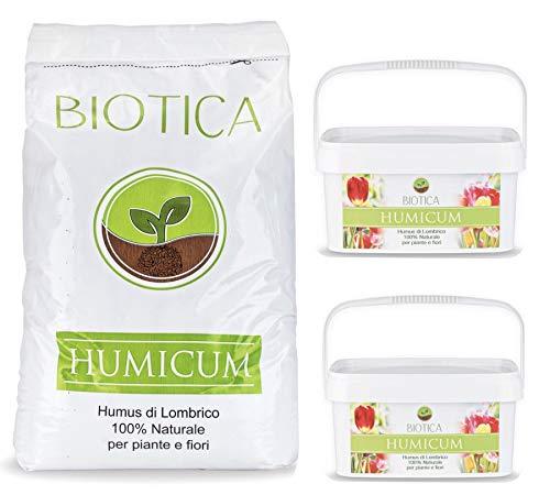 BIOTICA Humus di lombrico HUMICUM - 1 Sacco da 50 Litri + 2 Secchielli da 5 Litri