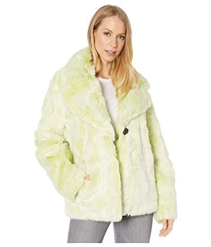Avec Les Filles Cropped Faux Fur Jacket Chartreuse XL