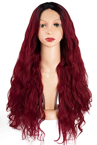 TOFAFA Ombre 99j Burgundy Lace Front Wigs for Women Long Wavy Synthetic Wine Red Wig 28 inches Dark Root