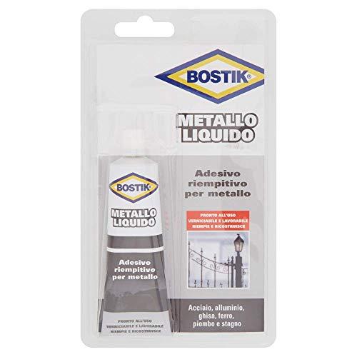 BOSTIK Metallo Liquido adesivo riempitivo per metalli pronto all'uso, verniciabile, lavorabile 55ml grigio