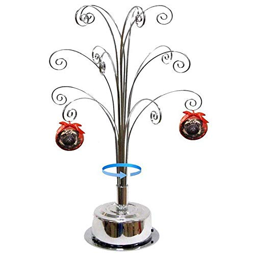 HOHIYA Ornament Display Stand Rotating Tree Christmas Bauble 16.75inch Silver