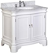 Katherine 36-inch Bathroom Vanity (Carrara/White): Includes White Cabinet with Authentic Italian Carrara Marble Countertop and White Ceramic Sink