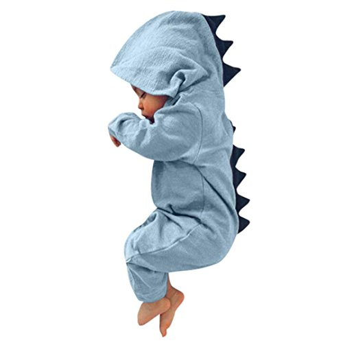 Newborn Baby Boy Girl Cute Dinosaur Hooded Romper Jumpsuit Clothes (3M, Blue)