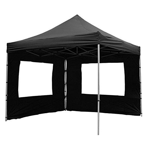 Nexos SM936147_SL Profi Faltpavillon Partyzelt Pavillon 3x3 m mit 4 Seitenteilen-hochwertige Ausführung-wasserdichtes Dach 270 g/m² + Tragetasche – Farbe: schwarz