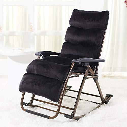 HAIZHEN Chaise longue Chaise de loisirs, cadre en acier léger pliable pour terrasse de jardin avec support 440lbs de chaise longue de chaise longue pour cour extérieure (Couleur : NOIR)