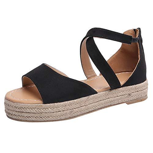 Fenverk Damen Keilsandalen Sommer Keil Peeptoe Fesselriemen Schnalle Sandaletten Elegant Flatform Schuhe Schwarz, Braun, Pink 35-43 EU(Schwarz A,39 EU)