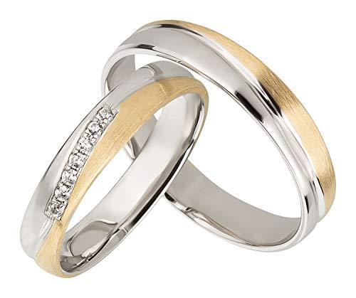 Ardeo Aurum Trauringe Damenring und Herrenring aus 375 Gold bicolor Gelbgold Weißgold mit Zirkonia Eheringe Paarpreis