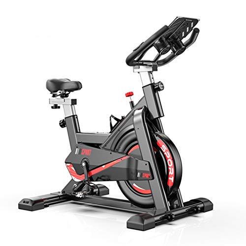 Bicicletta Spinning Cyclette Indoor con Volantino di Inerzia&Resistenza Regolabile,Bici da Fitness Ergonomica con Sensore di Impulsi,Ruote di Trasporto,Porta Tablet di Bici da Ciclismo Indoor