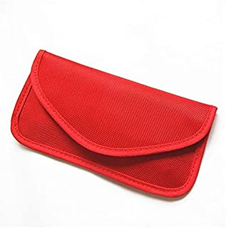 Car Key Bag, Faraday Bag/Cage/Pouch, Key Fob Case, Premium Key Signal Blocker Case, Signal Blocking Pouch Cage for Cell Phone Privacy Protection, Anti-Tracking(Red)