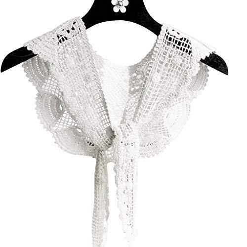 laoonl Chal tejido de encaje, chal de ganchillo pequeño con chaleco exterior, cuello falso, bufanda simple, regalo para la madre