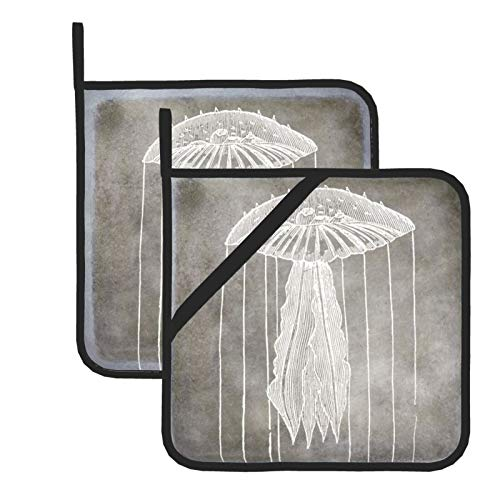 Pot Holders for Kitchen,Jellyfish Silver Pewter Gray Coastal Watercolor Heat Resistant Square Pot Holder Trivet Cooking Baking Dual-Function Hot Pad, 2-Piece