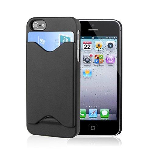 EARLYBIRD SAVINGS - Custodia posteriore in plastica rigida per Apple iPhone 5/5G, con alloggio porta tessere, pellicola proteggi schermo e pennino capacitivo inclusi, colore nero