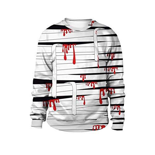 ZEZKT-mode Blood Bandage 3D Digital Druck Halloween Pullover Beiläufig Kapuzenpullover | Fantasie Langarm Hoodies | Herbst Winter Rundhals Tops