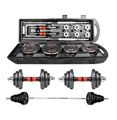 ALIKEEY Dumbbell, Adjustable Weight Dumbbell Set Free Weight Set with Connecting Rod Barbell Lifting Rod Detachable Body Exercise 50Kg/110Lb (Black)