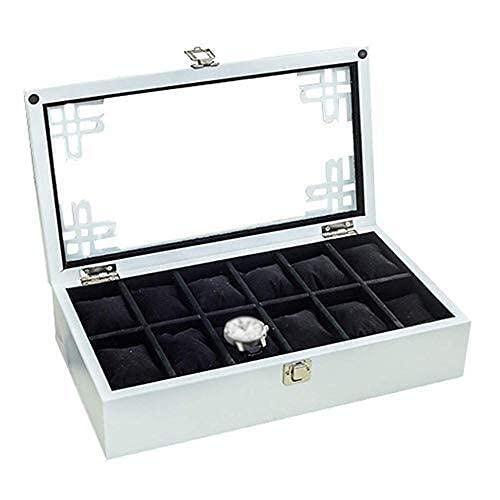 LULUTING 12 Cojines Desmontable 12-Slot Caja de Reloj/joyería Colección Acabado de displays Caja de Madera, Hebilla de Metal y Cubierta de Cristal