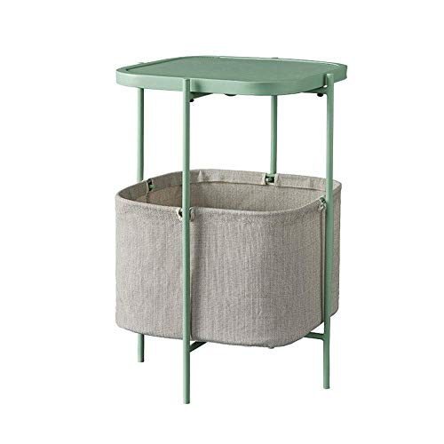 Carl Artbay Home & Selected zitbank, bijzettafel, woonkamer, Iron Art, hoektafel, opbergmand nachtkastje, 41 x 41 x 61,5 cm, kleur: groen