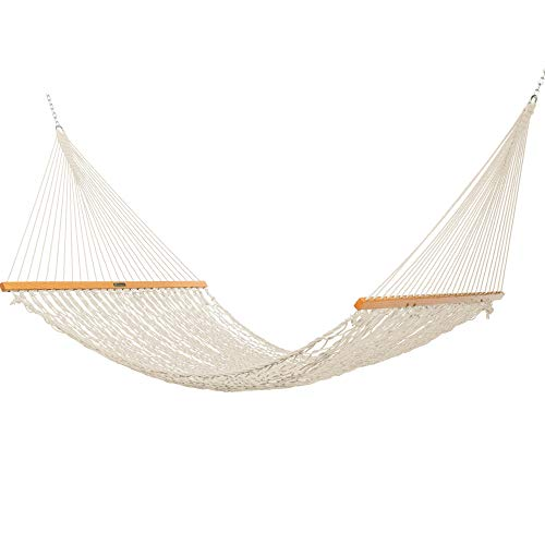 Original Pawleys Island 15DCOT Presidential Oatmeal Duracord Rope Hammock w/ Extension Chains & Tree Hooks, Handcrafted in The USA, Accommodates 2 People, 450 LB Weight Capacity, 13 ft. x 65 in.
