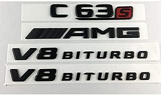 Black C63S AMG V8 BITURBO Trunk Fender Badges Emblems for Mercedes Benz W205
