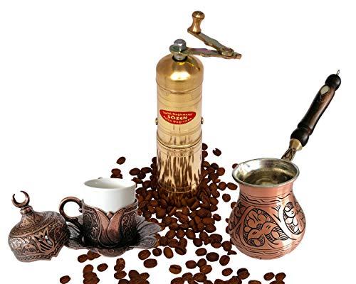"7"" Handmade Manual Brass Coffee Mill Grinder Sozen Coffee Maker, Solid Copper Turkish Greek Arabic Coffee Pot Stovetop Coffee Maker Cezve Ibrik Brik, Espresso Cup Saucer Set, Bronze Bundle"