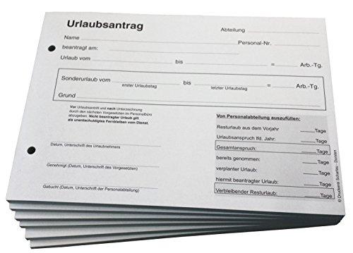 5x Urlaubsantrag - Blocks Urlaubsantrag - Urlaub - DIN A5 quer 3-fach - durschschreibend 3 x 30 Blatt - SD (22239)