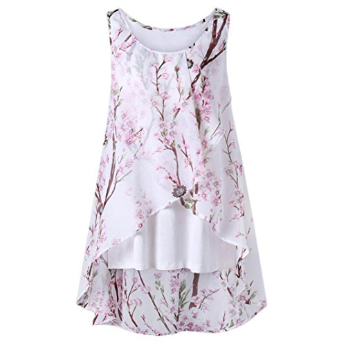 iYmitz Damen Sommer Strand Blumen Weste Top ärmellose Bluse Casual Tank lose T-Shirt Oberteil Tees(Weiß,L)