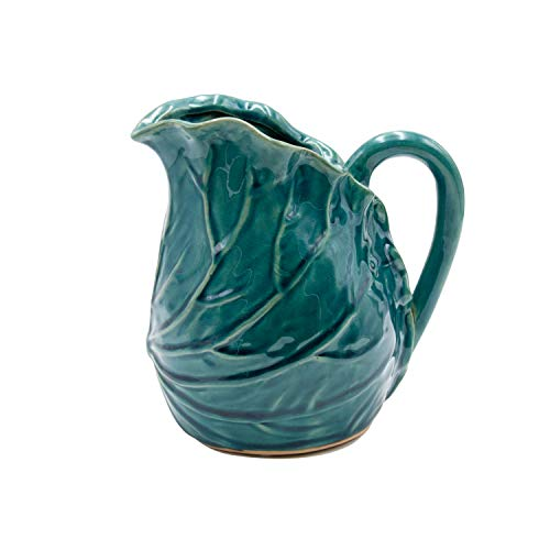Jarra de cerámica con Forma de Hoja de Col con asa, Capacidad de 1,5 litros, Color Azul. Medidas: 14,5 x 14,5 x 19,5 centímetros. Material: cerámica (Referencia: 3131615)