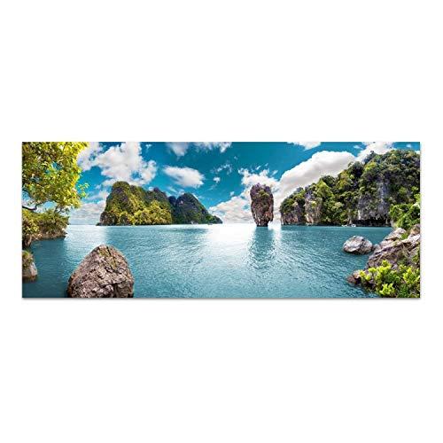 DEKOGLAS Glasbild \'Thailand\' Echtglas Bild Küche, Wandbild Flur Bilder Wohnzimmer Wanddeko, einteilig 125x50 cm