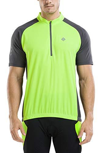 KORAMAN Men's Reflective Short Sleeve Cycling Jersey with Zipper Pocket Quick-Dry Breathable Biking Shirt Green M