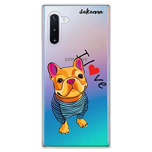 dakanna Funda para [Samsung Galaxy Note 10] de Silicona Flexible, Dibujo Diseño [Perro Bulldog con Corazon y Frase i Love], Color [Fondo Transparente] Carcasa Case Cover de Gel TPU para Smartphone