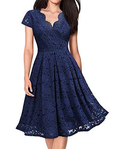 KOJOOIN Damen 1950er Vintage Brautjungfernkleider für Hochzeit Kurzes A-Linie Abendkleider, Dunkelblau (Kurze Ärmel), Gr.- S/34-36