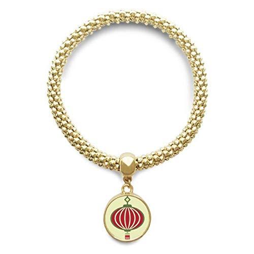 DIYthinker Damen Laterne China Muster Goldene Armband Laufende Anhänger Schmuck-Kette