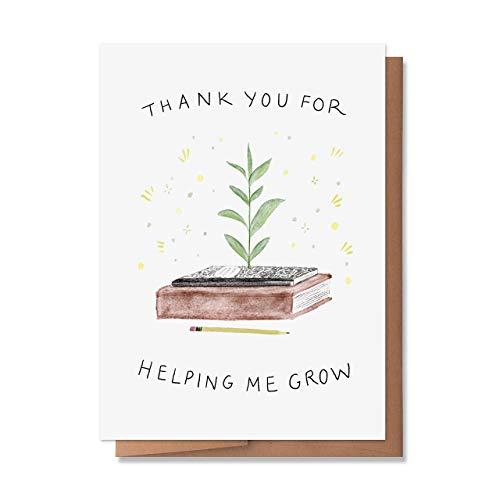 Wunderkid Thank You For Helping Me Grow, Teacher Appreciation Card (1 Single Card, Blank inside)
