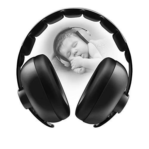 BBTKCARE Casque anti-bruit pour bébé de 3 mois à 2 ans - Noir - One Size
