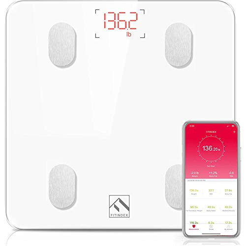 FITINDEX Bluetooth Body Fat Scale Smart Wireless BMI Bathroom Weight Scale Body Composition Monitor Health Analyzer with Smartphone App for Body Weight Fat Water BMI BMR Muscle Mass  White