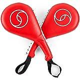 Juvale Taekwondo Kick Pads, Striking Paddles for Martial Arts, Karate Sparring Training Equipment (Red, 2 Pack)