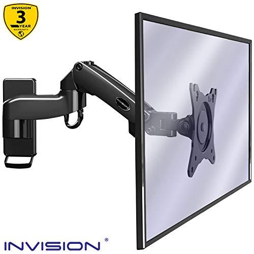 Invision Supporto Monitor Muro da Parete per PC e TV – per Schermi 17-27 Pollici - Braccio Singolo Ergonomico Regolabile in Altezza, Orientabile e Inc