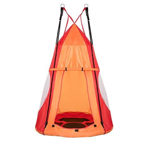 COSTWAY Ø 100cm Nestschaukel mit Zelt, Gartenschaukel bis 150kg belastbar, Kinderschaukel mit Tür und Fenster, Tellerschaukel für Indoor und Outdoor, inkl. höhenverstellbarem hängendem Seil (Orange)